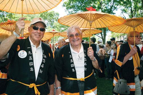 Celebrating their 55th, Bill Ughetta '54, left, and Duke Slichter '54 are happy in their happi coats.