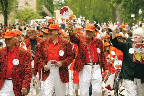"""Three Class of '60 Tigers – from left: Rob Warne, Phil Detjens, and Phil Becton – prowl the P-rade as they celebrate the """"Year of the Tiger."""""""