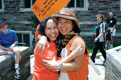 Vicki Takeuchi Wynne '74, left, and Susie Huang '76 are excited to find each other at Wynne's 35th.