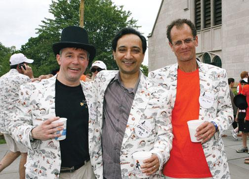 "Enjoying their ""Roarin' 25th"" (and their new Reunions jackets) are '85ers, from left, Bill Bergmann, Zahid Hussain, and Doug Stahl."