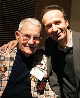 Actor Roberto Benigni, right, joined other Dante enthusiasts at the annual Dante reunion, which brings together former students of professor emeritus Robert Hollander '55, left.