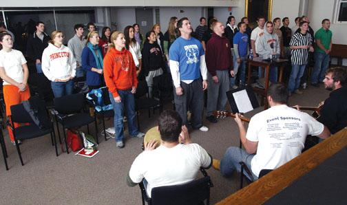 "Christian athletes gather each week for ""Game Time,"" a weekly meeting with prayer, Scripture-reading, and a competition, thrown in for fun. The sessions are sponsored by the student group Athletes in Action."