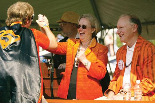 At the end of the P-rade, this Class of 2005 alum climbs to get a personal greeting from President Tilghman.