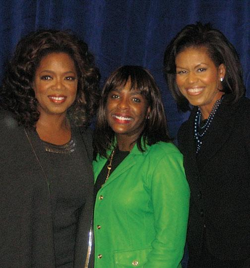 Sewell, center, with Oprah Winfrey and Michelle Obama '85 during the 2008 presidential campaign.