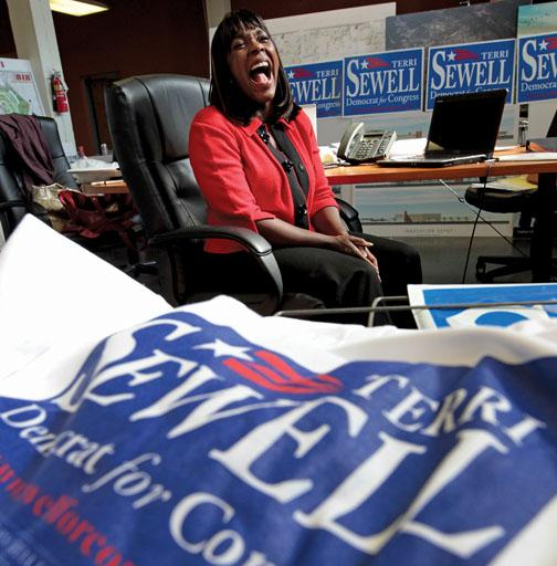 In her campaign office the day before the election, Sewell knew she was favored to win.