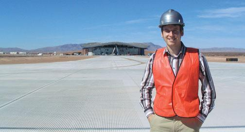 Aaron Prescott '06 directs the commercial ­division at Spaceport America in New Mexico.