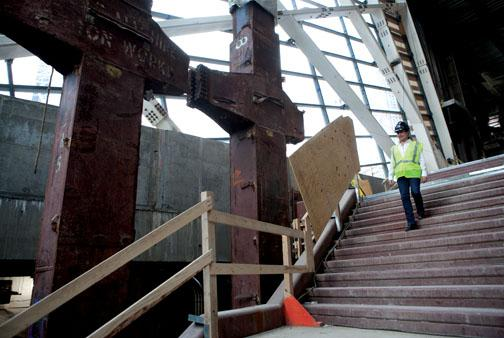 "These ""tridents,"" remnants of the skeleton of the twin towers, will stand at the entrance of the Memorial Museum."