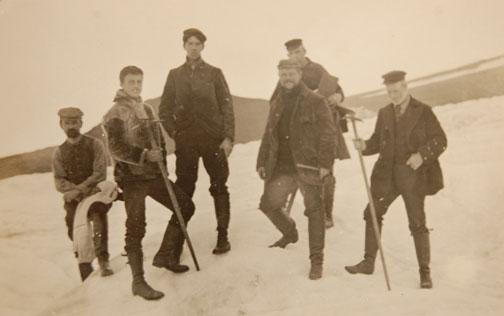 Walter Wyckoff 1888, far left, joined Princeton biologists and geoscientists on an 1899 field study in Greenland. The group also delivered supplies to Adm. Robert Peary.