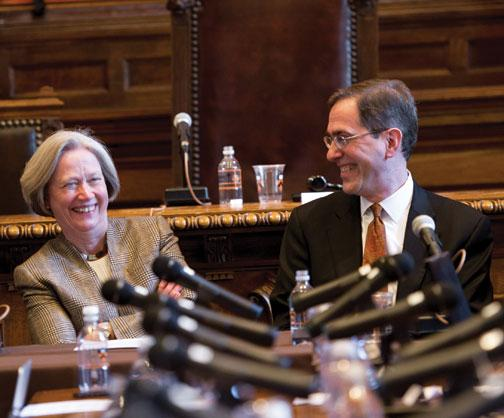 President Tilghman and the man chosen to be her successor, Provost Christopher Eisgruber '83, share a laugh during a Nassau Hall press conference April 21.