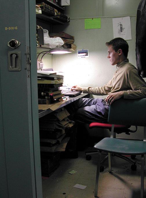 Nicolas Dumont '02 at work in his carrel.
