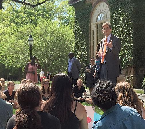 "President Eisgruber '83 addresses a May teach-in by ""ban the box"" advocates."