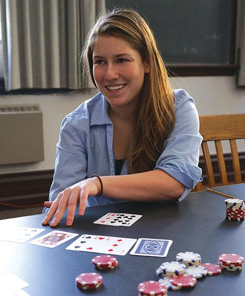 Texas Hold 'em instructor Rachel Roberts '16.
