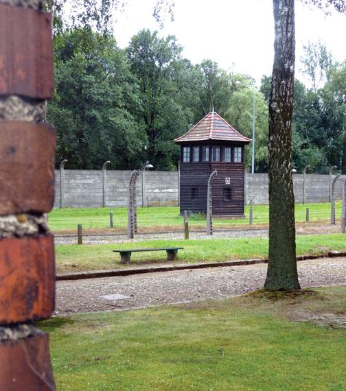 A guardhouse at Auschwitz.