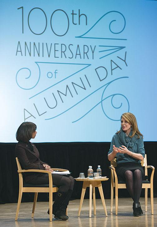Queen Noor of Jordan (formerly Lisa Halaby '73), right, spoke about how her time at Princeton prepared her for challenges she faced as queen. After her speech, she talked with Woodrow Wilson School Dean Cecilia Rouse.