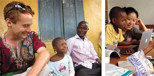 Raphael Frankfurter '13 at work in Sierra Leone and Shirley Gao '13 with a local boy.