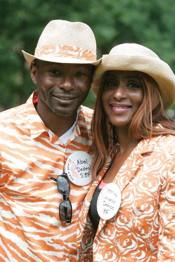 Veronica Anderson Dedegh '87 and her husband, Abel, are fully outfitted in classy gear.