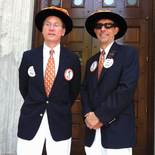 Marshals Dan Abramowicz *84, left, and Dan Lopresti *87 model marshal attire before the P-rade.