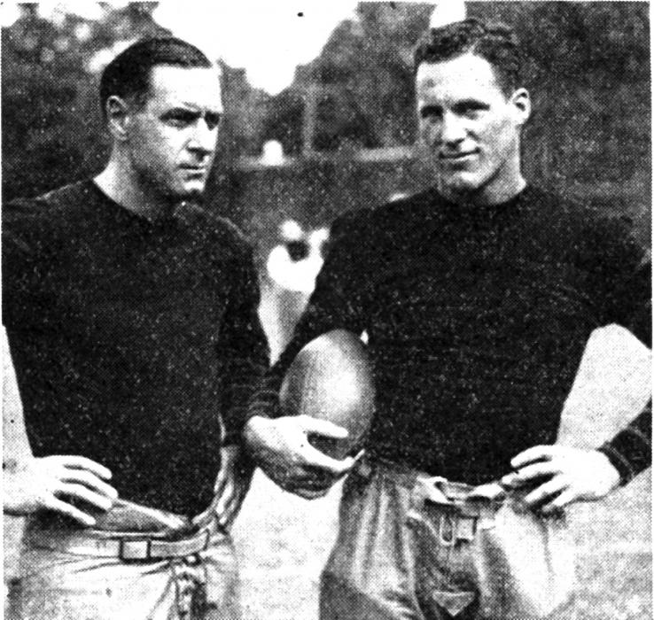 Football coach Fritz Crisler and Pepper Constable '36: Football captain, class president, Pyne Prize winner