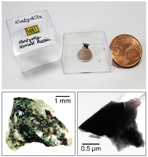 This tiny chunk of meteorite, above and below left, from the geological museum at the University of Florence, contained a rare sample of khatyrkite. When a piece of the khatyrkite was examined by X-ray diffraction at the Princeton Institute for the Scie