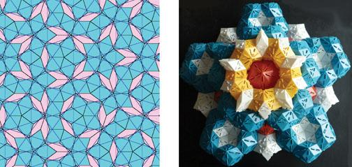 Top left: Penrose tiles are named after British mathematician Roger Penrose, who arranged fat and thin rhombuses in a pattern that not only filled the available space but did so with symmetries thought to be impossible. Steinhardt recognized that these pa