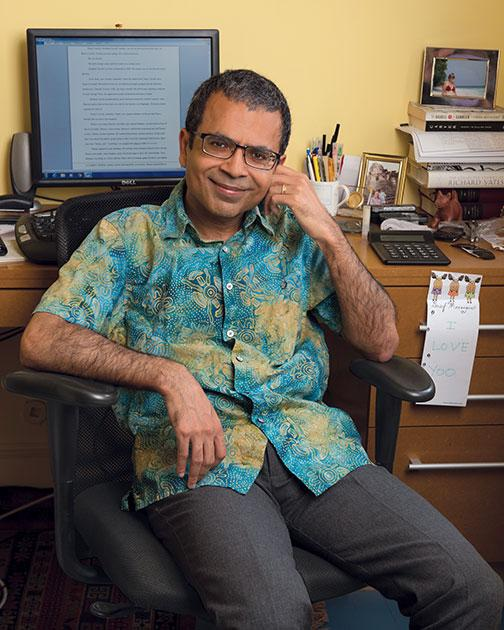 Akhil Sharma '92 at his desk in his home office in New York City, where he does his writing.