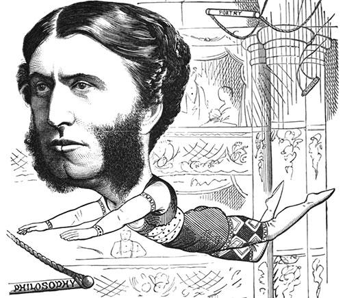 This cartoon, which appeared in Once a Week in October 1872, shows Matthew Arnold as a trapeze artist, swinging between disciplines in the humanities.