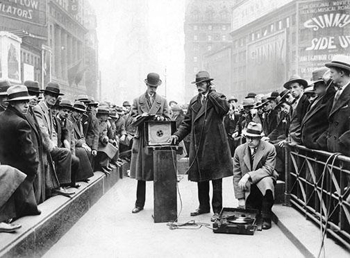 Experts from the Noise Abatement Commission measure the sounds of Times Square in December 1929.