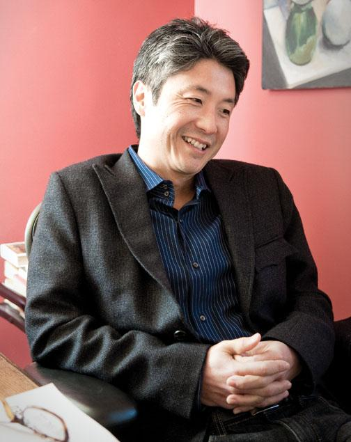 Princeton professor and ­novelist Chang-rae Lee in his home office, where he does his writing.