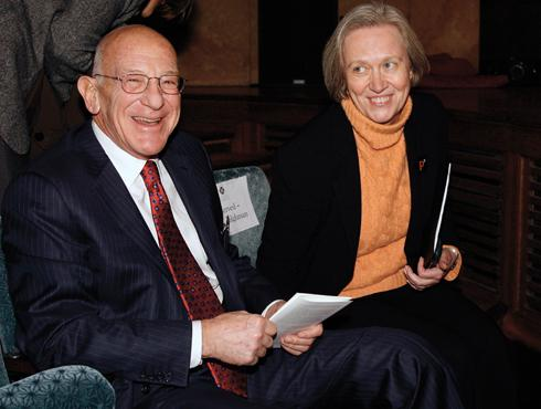 Peter Lewis '55 and President Tilghman: the doing of art.