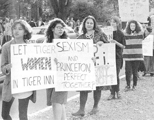 Weiner, third from left, protests Tiger Inn's male-only membership policy in October 1990.