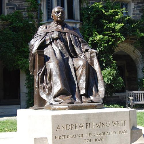 Andrew Fleming West 1874, depicted in bronze at the graduate school, was the chief organizer and fundraiser for the University's 150th-anniversary celebration -- and founded Princeton's Glee Club.