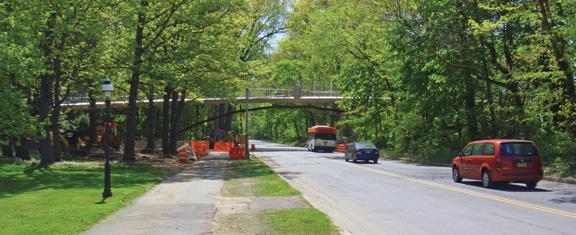 The new Streicker Bridge spans Washington Road.