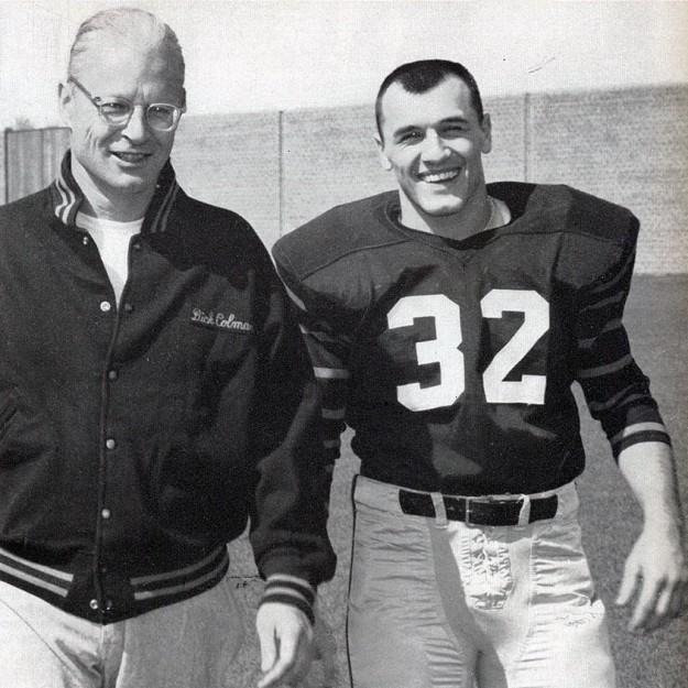 Coach Dick Colman, left, with Cosmo Iacavazzi '65 in 1964. (PAW Archives)