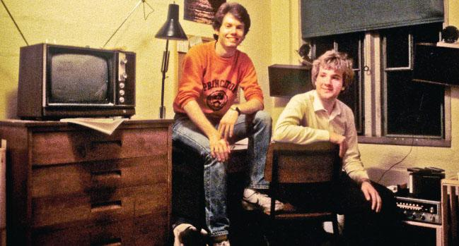 Tom Kessler '86, right, and Dave Mackie '86 in 1984 in their ground-floor suite in Henry Hall.