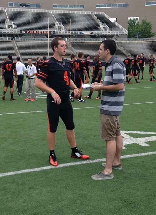 Quinn Epperly '15, left, sports the Tigers' new jersey at football media day.