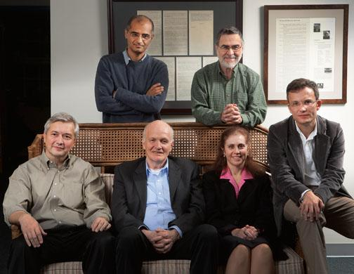 Researchers in Princeton's Program in Science and Global Security: Sitting, from left, Chris Chyba, Frank von Hippel, Laura Kahn *02, and Alex Glaser. Standing, from left, Zia Mann and Harold Feiveson *72.