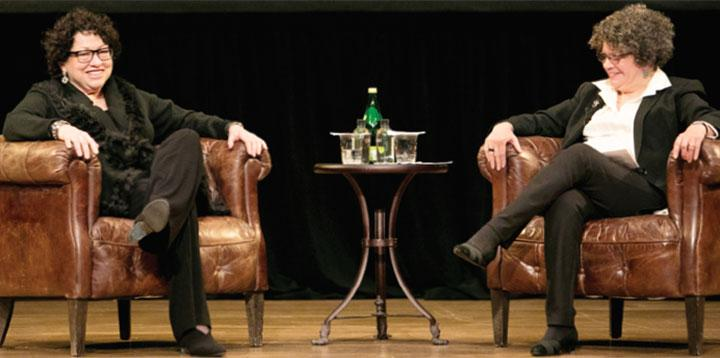 Sonia Sotomayor '76 (left) talks with Margarita Rosa '74 (Denise Applewhite)