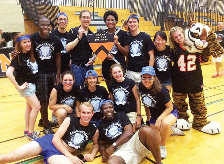Kendall Bedford '17 (center, with shield) joins Team Whitman in Clash of the Colleges.