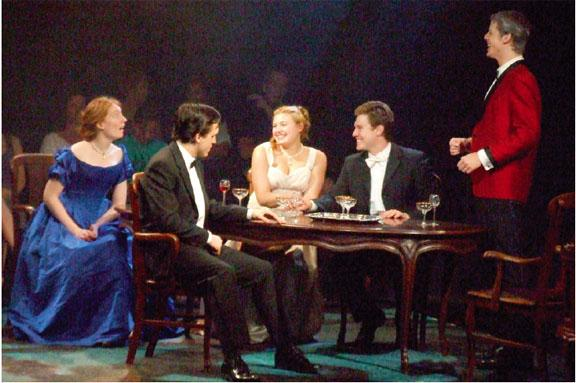 A scene from J. B. Priestley's An Inspector Calls. From left to right are Heather May '10; John Hardin, New York University; Tara Richter Smith, New York University; Tyler Crosby '09; and Aaron Strand, New York University.