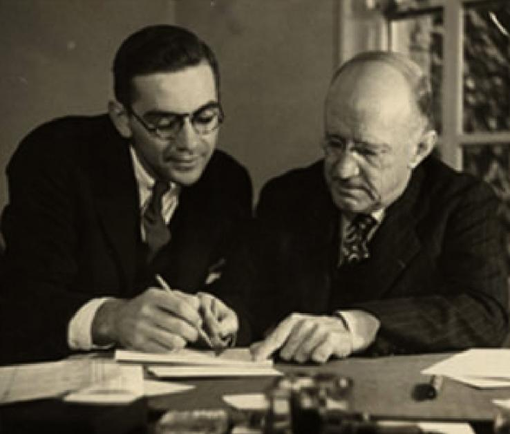 Assistant Dean Bill Selden '34 and Dean of the College Christian Gauss in 1934.