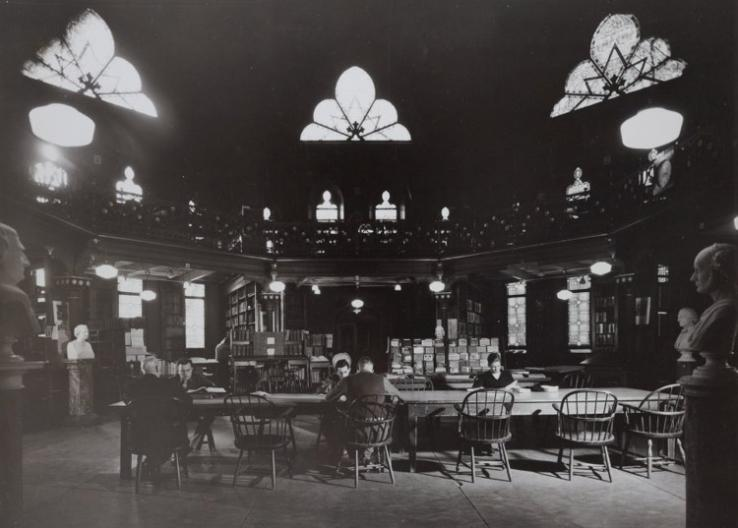 The Chancellor Green rotunda, once the University's main library, continues to be a popular study space, as it was in this undated photo.