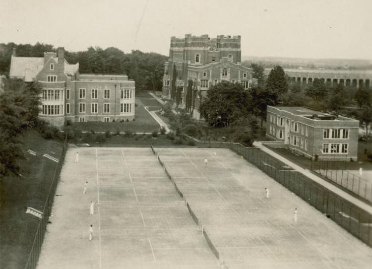 The Grounds and Buildings photos show views of many campus spaces that no longer exist. For example, Wilson College students may recognize these tennis courts, adjacent to McCosh Infirmary, as the site of Dodge-Osborn Hall, 1937 Hall, 1938 Hall, 1939 Hall