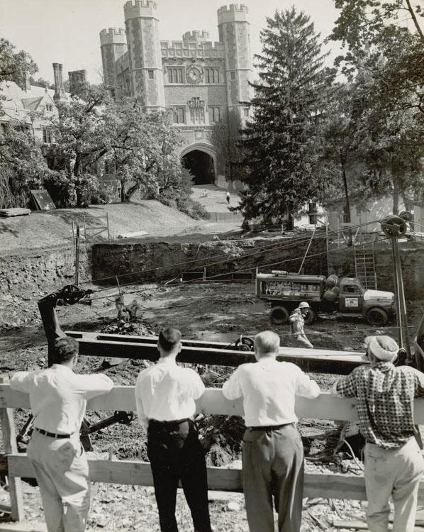 Near Blair Hall, viewers watch the construction of 36 University Place, which would serve as the primary home of the University Store until 2007.