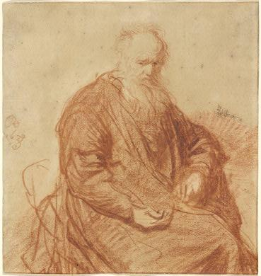 Rembrandt van Rijn, Seated Old Man, 1630; red chalk, 157 x 147 mm.; National Gallery of Art, Washington, Rosenwald Collection, 1943.3.7047