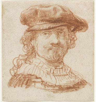 Rembrandt van Rijn, Self-Portrait, c. 1637; red chalk, 129 x 119 mm.; National Gallery of Art, Washington, Rosenwald Collection, 1943.3.7048