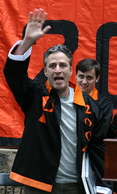 Jon Stewart, an honorary member of the Class of 2004, at Class Day. (Denise Applewhite/Office of Communications; published in the July 7, 2004, issue of PAW)