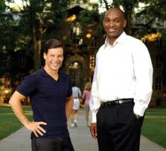 Andrew Kosove '92, left, and Broderick Johnson '90