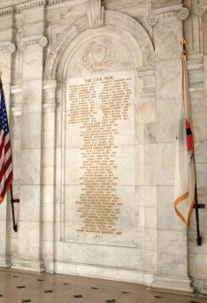 Memorial Atrium in Nassau Hall lists 70 alumni who died in the Civil War: 34 fighting for the Union, 36 for the Confederacy.