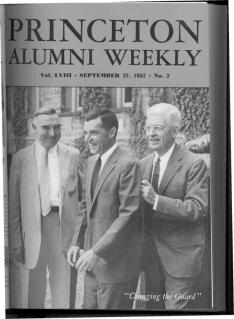 PAWcover Sept. 27, 1957,  with Harold Helm '20, left, and President Harold Dodds *14 on Goheen's inauguration day.