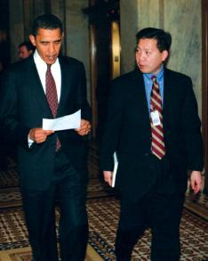 Chris Lu '88 with President Obama